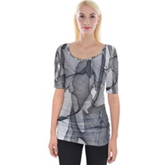 Abstract Black And White Background Wide Neckline Tee