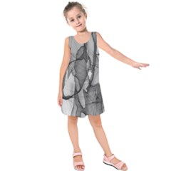 Abstract Black And White Background Kids  Sleeveless Dress