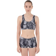 Abstract Black And White Background Work It Out Sports Bra Set