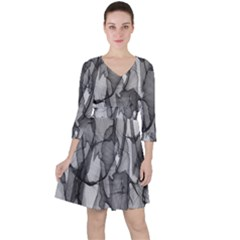 Abstract Black And White Background Ruffle Dress