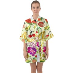 Seamless Pattern Desktop Decoration Quarter Sleeve Kimono Robe