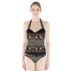 Board Digitization Circuits Halter Swimsuit