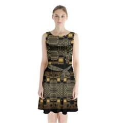 Board Digitization Circuits Sleeveless Waist Tie Chiffon Dress
