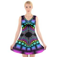 Fractal Art Artwork Digital Art V Neck Sleeveless Skater Dress