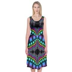 Fractal Art Artwork Digital Art Midi Sleeveless Dress