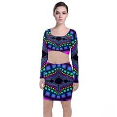 Fractal Art Artwork Digital Art Long Sleeve Crop Top & Bodycon Skirt Set