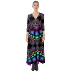 Fractal Art Artwork Digital Art Button Up Boho Maxi Dress