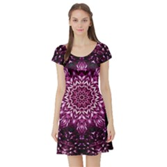 Background Abstract Texture Pattern Short Sleeve Skater Dress