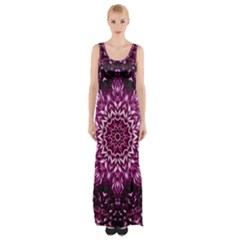 Background Abstract Texture Pattern Maxi Thigh Split Dress