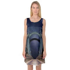 Bridge Mars Space Planet Sleeveless Satin Nightdress