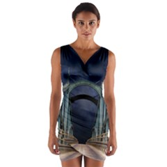 Bridge Mars Space Planet Wrap Front Bodycon Dress