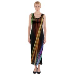 Lines Rays Background Light Fitted Maxi Dress