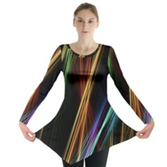 Lines Rays Background Light Long Sleeve Tunic