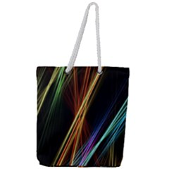 Lines Rays Background Light Full Print Rope Handle Tote (large)