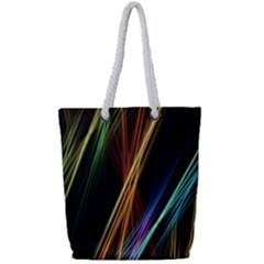 Lines Rays Background Light Full Print Rope Handle Tote (small)