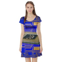Processor Cpu Board Circuits Short Sleeve Skater Dress