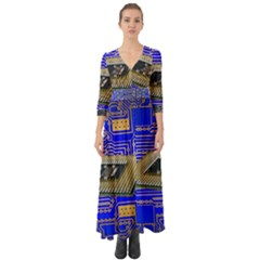 Processor Cpu Board Circuits Button Up Boho Maxi Dress