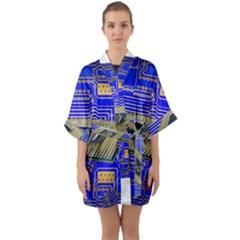 Processor Cpu Board Circuits Quarter Sleeve Kimono Robe