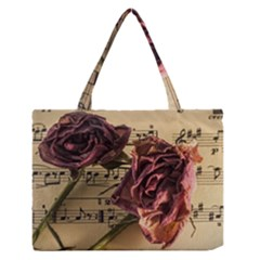 Sheet Music Manuscript Old Time Zipper Medium Tote Bag