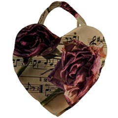 Sheet Music Manuscript Old Time Giant Heart Shaped Tote