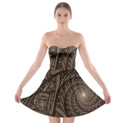 Abstract Pattern Graphics Strapless Bra Top Dress
