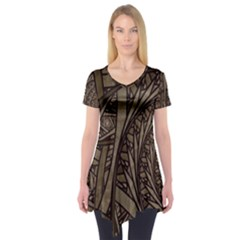 Abstract Pattern Graphics Short Sleeve Tunic