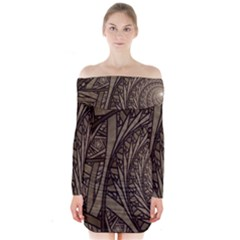 Abstract Pattern Graphics Long Sleeve Off Shoulder Dress