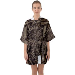Abstract Pattern Graphics Quarter Sleeve Kimono Robe