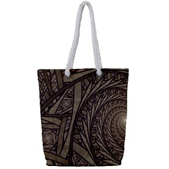 Abstract Pattern Graphics Full Print Rope Handle Tote (small)