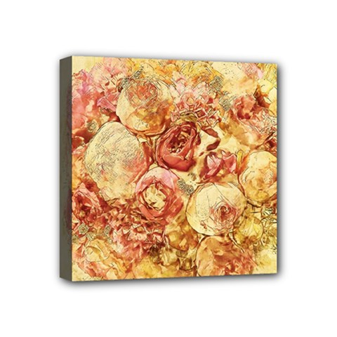 Vintage Digital Graphics Flower Mini Canvas 4  X 4