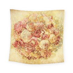 Vintage Digital Graphics Flower Square Tapestry (small)