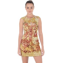 Vintage Digital Graphics Flower Lace Up Front Bodycon Dress