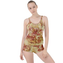 Vintage Digital Graphics Flower Boyleg Tankini Set