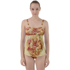 Vintage Digital Graphics Flower Twist Front Tankini Set