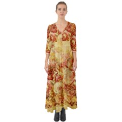Vintage Digital Graphics Flower Button Up Boho Maxi Dress