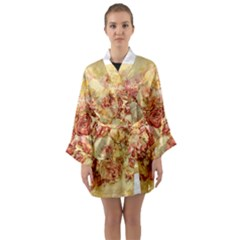 Vintage Digital Graphics Flower Long Sleeve Kimono Robe