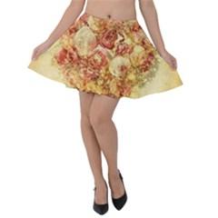 Vintage Digital Graphics Flower Velvet Skater Skirt