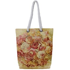 Vintage Digital Graphics Flower Full Print Rope Handle Tote (small)