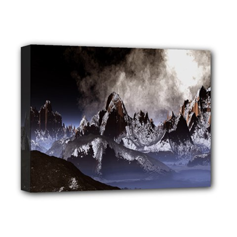 Mountains Moon Earth Space Deluxe Canvas 16  X 12