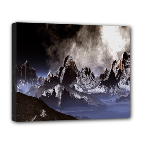 Mountains Moon Earth Space Deluxe Canvas 20  X 16