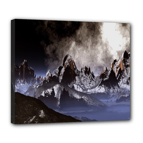 Mountains Moon Earth Space Deluxe Canvas 24  X 20