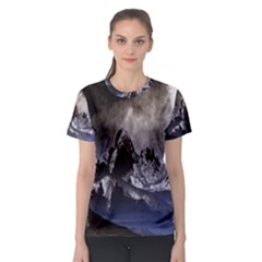 Mountains Moon Earth Space Women s Sport Mesh Tee