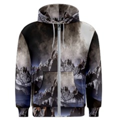 Mountains Moon Earth Space Men s Zipper Hoodie