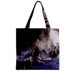 Mountains Moon Earth Space Zipper Grocery Tote Bag