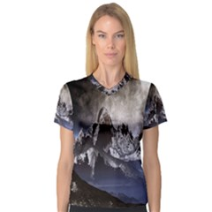 Mountains Moon Earth Space V Neck Sport Mesh Tee