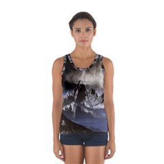 Mountains Moon Earth Space Sport Tank Top
