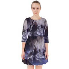 Mountains Moon Earth Space Smock Dress