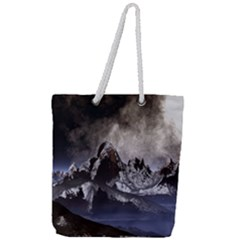 Mountains Moon Earth Space Full Print Rope Handle Tote (large)