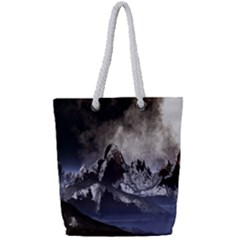 Mountains Moon Earth Space Full Print Rope Handle Tote (small)