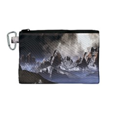 Mountains Moon Earth Space Canvas Cosmetic Bag (medium)